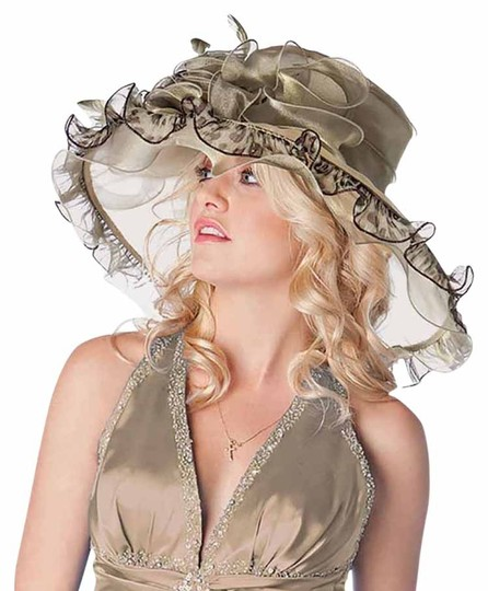 Other FASHIONISTA Olive Green Large Dressy Derby Hat Image 0