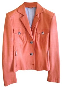 Brioni Italy Finest Leather Lightweight Leather Leather Orange Leather Jacket