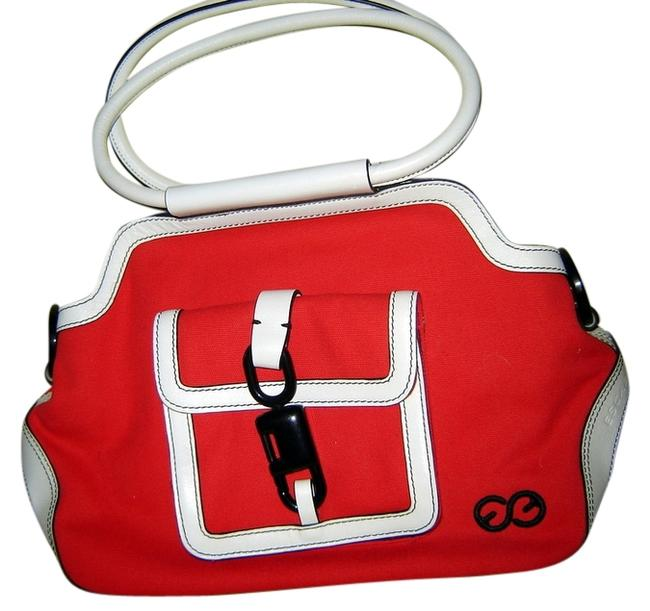 Item - Sport Red White & Black Canvas Leather Plastic Tote