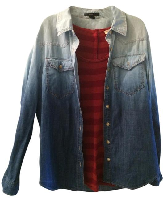 Preload https://item4.tradesy.com/images/forever-21-blue-chambray-31556644-ombre-western-denim-shirt-button-down-top-size-12-l-1166778-0-0.jpg?width=400&height=650