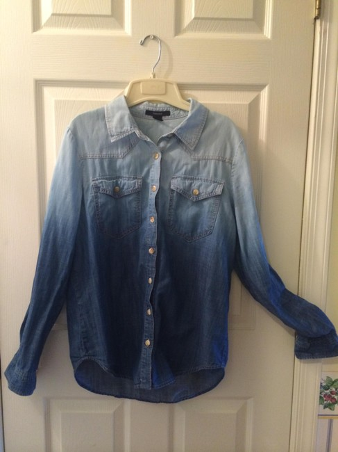 Forever 21 Button Down Shirt Blue/ Chambray