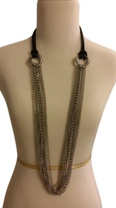 Sigal Multi Row Stainless Steel Chain Necklace with Leather Cord.