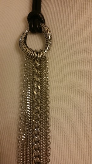 Sigal Multi Row Stainless Steel Chain Necklace with Leather Cord. Image 2