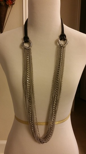 Sigal Multi Row Stainless Steel Chain Necklace with Leather Cord. Image 5