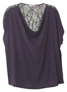 Michael Stars Cowl Drape Top Purple with black lace