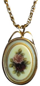 ANTIQUE Gold Plated Necklace With Vintage/Antique Emblem That Has Rose's On It,VERY PRETTY!