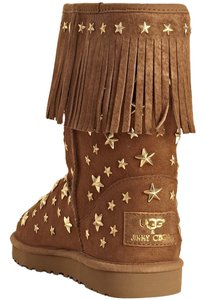 Jimmy Choo Uggs Brown Stars Fringe Studded Starlit Limited Edition CHESTNUT Boots
