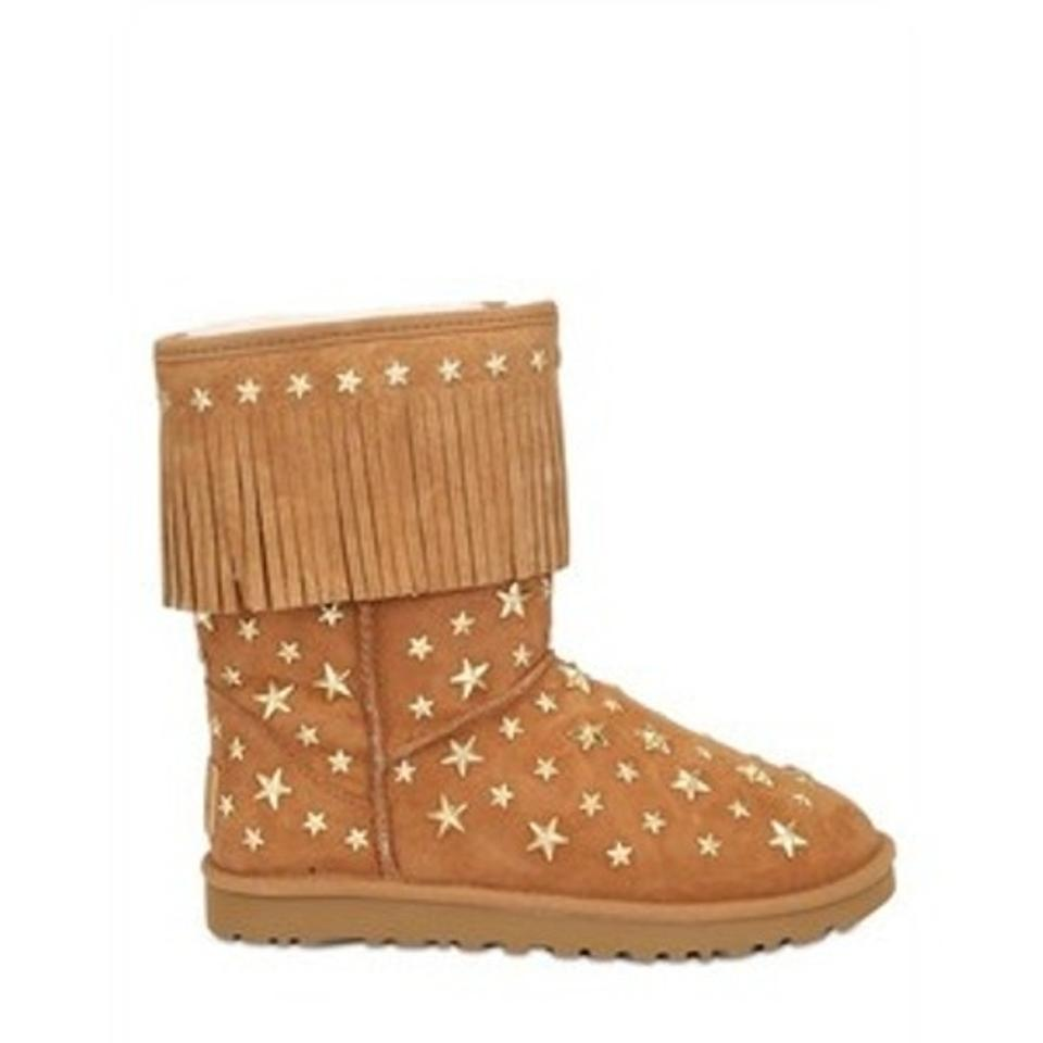 379d4234948 Jimmy Choo Uggs Brown Stars Fringe Studded Starlit Limited Edition CHESTNUT  Boots Image 3. 1234