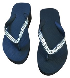 Other Rhinestones Rubber Black Sandals