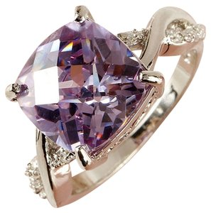 9.2.5 Gorgeous purple tourmaline and white sapphire cocktail ring size7