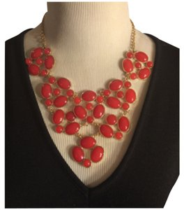 Large ORANGE-RED CHUNKY COSTUME NECKLACE