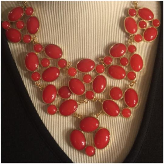 Other Large ORANGE-RED CHUNKY COSTUME NECKLACE Image 1