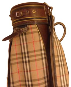 Burberry Golf Plaid Leather Brown Travel Bag
