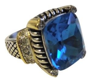 Other Emma Skye Large Textured 2-tone Simulated Blue Topaz Crystal Stainless Steel Ring Size 8