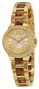 Michael Kors Tortoise Shell Gold with Crystal Accents Ladies Designer Watch