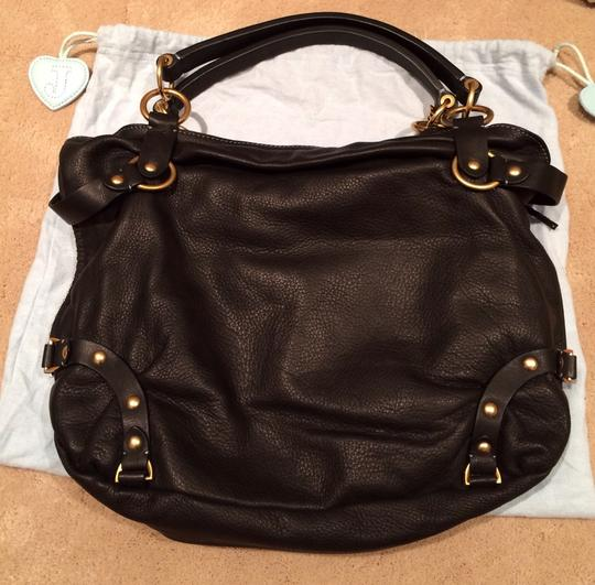 Juicy Couture Leather Gold Hardware Studded Lock & Key Satchel in Black