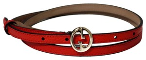 Gucci GUCCI 362731 Red Leather Skinny Belt with Interlocking G Buckle 90 - 36