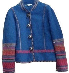 Coldwater Creek Southwest Style Pretty Stitching Denim Blue and Multi Colored Sleeves Blazer