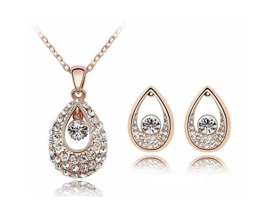 KATGI Fashion Austrian Crystal Angel Teardrop Pendant Necklace & Earrings (Set of 2) Image 1