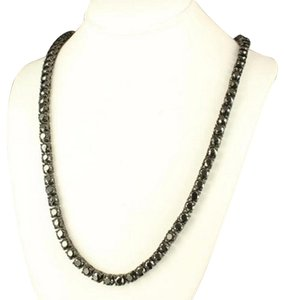 Mens Onyx Black Lab Diamond Tennis Solitaire Chain Necklace In Stainless Steel