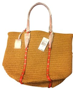 Michael Kors Brand New Never Used Studded Soft Straw Vacation Tote in Tan/Orange