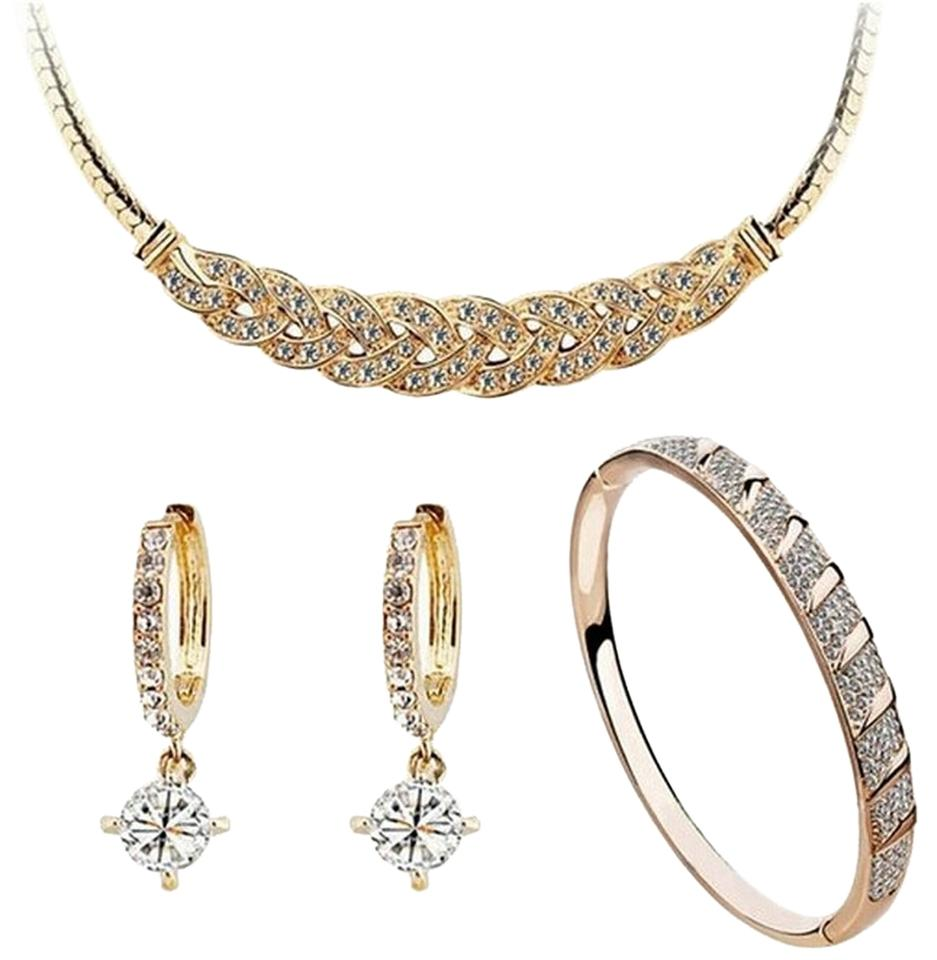 Other Fashion Women Jewelry Set With Artificial Crystal White Gold Plated Earrings Bracelet Necklace Sets