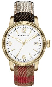 Burberry Burberry Women's The Utilitarian House Check Plaid Fabric & Leather Gold Tone Stainless Steel White Dial Watch BU7853