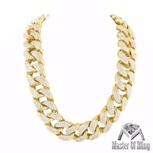 Other Miami Cuban Chain 14k Gold Finish Lab Diamond Thick 18mm Mens Heavy400 Grams