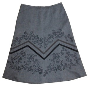 Ann Taylor LOFT Church Office Trim Skirt GRAY