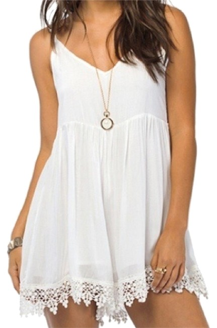 Preload https://img-static.tradesy.com/item/11672269/white-with-lace-trim-short-romperjumpsuit-size-10-m-0-1-650-650.jpg