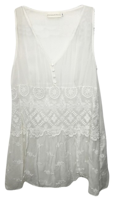 Item - White Sheer Silk Embroidered V Neck Tank Top/Cami Size 8 (M)