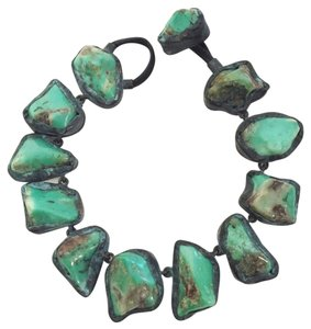 Monies MONIES Turquoise Stone and Leather Necklace