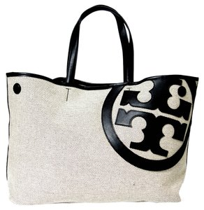 Tory Burch Lonnie Canvas Canvas Canvas Monogram Tote in Black