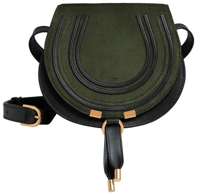 Item - Marcie Mini Saddle In & Shiny Calfskin Night Forest Green Suede and Leather Cross Body Bag