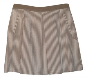 Banana Republic Taupe Striped Skirt Taupe/White