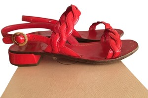 Prada Patent Leather Strappy Gold Hardware Red Sandals