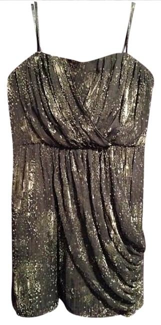 BCBGeneration Drape Short Bcbg Cinched Waist Empire Mini Silver Blue Gray Velvet Dress