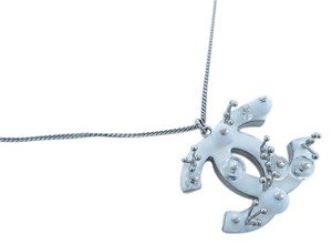 Chanel Chanel Ice Silver White Transparent CC Charm Silver Chain Link Pendant Necklace in Box