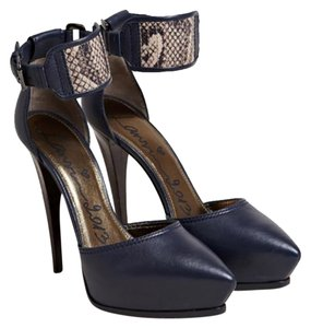 Lanvin Platform Heel Sandal Ankle Strap Leather Python Runway Pumps