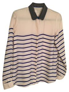 Maison Scotch Button Down Shirt Blue and White Stripe