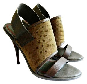 Miss Sixty Leather Elastic Strap Suede tan / olive green Sandals