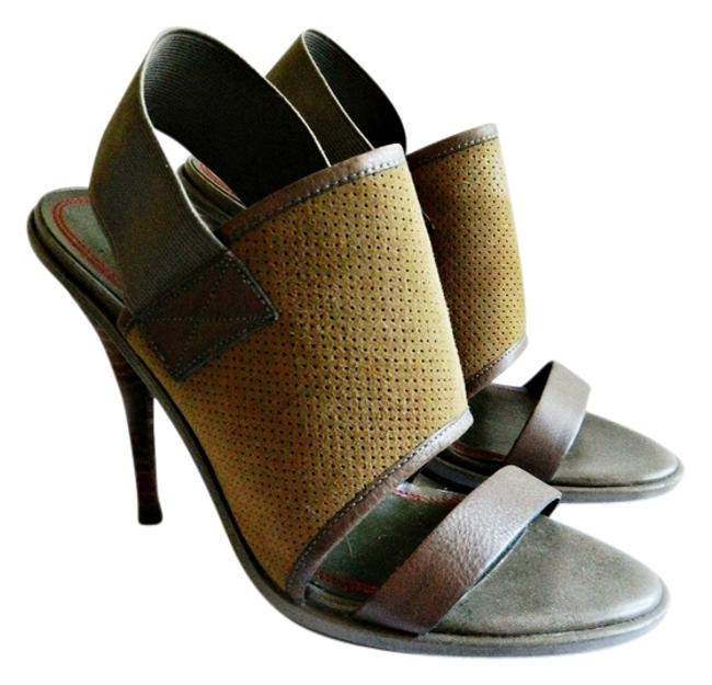 Item - Tan / Olive Green Heels Sandals Size US 6.5 Regular (M, B)