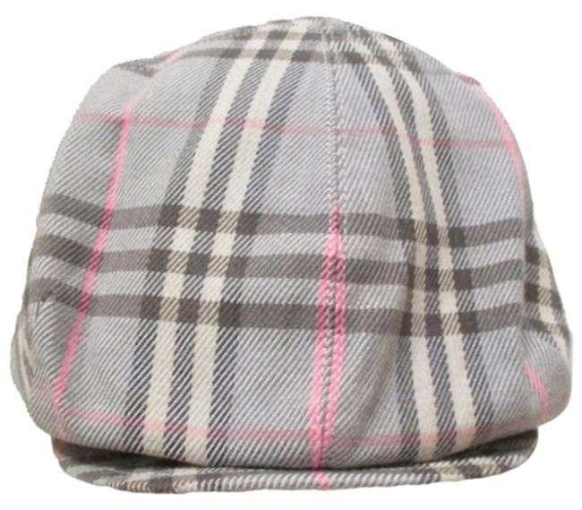 Item - Pink Gray White Novacheck Plaid Cotton Flannel Beret Newsboy Hat