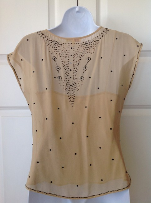 Catherine Malandrino Beaded Blouse Evening Top Nude