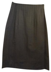 Theory Pinstripe Wool Stretchy Skirt Dark Charcoal