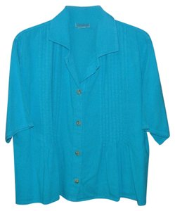 Eucalyptus Cotton Boho Button Down Shirt Blue