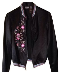 Bisou Bisou Black Silk w/pastel Flowers Jacket