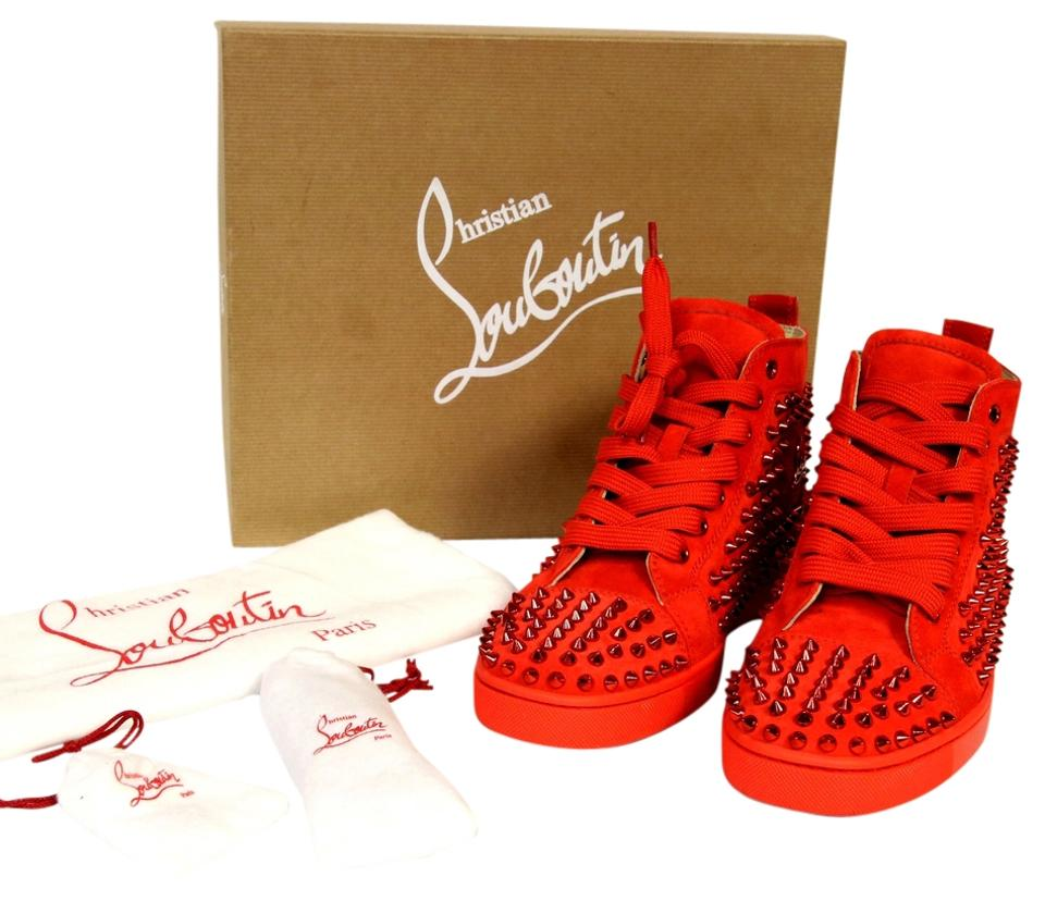 a339a58212e0 Christian Louboutin Red Poppy Limited Ed. Louise Flat Capucine Suede Spikes  Sz. 39 Sneakers