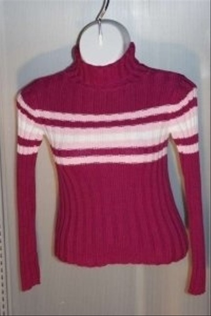 Aeropostale Turtleneck Size Medium Color Is Fuscia With Pink/white Stripes Sweater