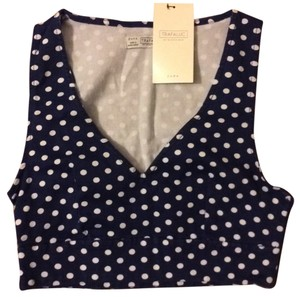 Zara Top Blue and white polka dots